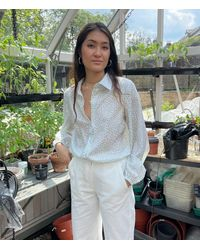 PHOEBE GRACE Nancy Shirt In Small Daisy - White
