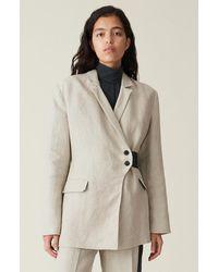 Ganni Linen Wrap Style Blazer - Natural