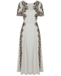 Frock and Frill Joyce Embroidered Short Sleeve Maxi Dress - White