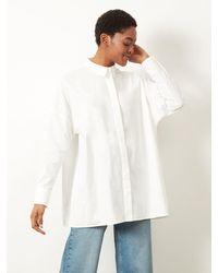 ALIGNE Capella Oversized Patch Pocket Shirt Cream , - Metallic