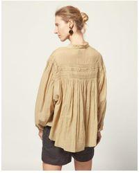 Étoile Isabel Marant Lalia Cotton-voile Blouse - Natural