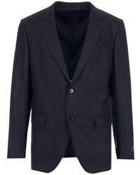 Z Zegna Men's 85050112tk20 Blue Wool Blazer