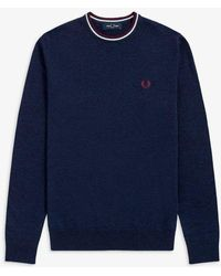 Fred Perry Classic Crew Neck Sweater Navy - Blue