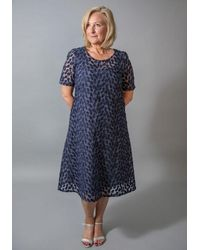 Out Of Xile - Leaf Embroidery Dress Blue - Lyst