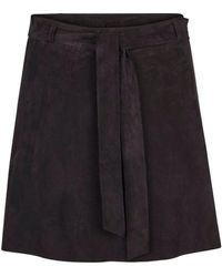 Second Female Rut Wide Suede Skirt - Black