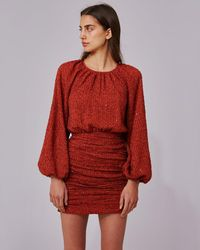 C/meo Collective Copper Balloon Sleeve Mini Dress - Red