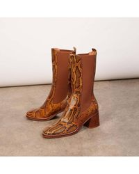 Miista - Macy Citrine Snake Leather Boots - Lyst