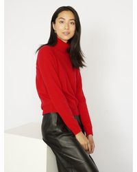 Cocoa Cashmere Essential Scarlet Cashmere Roll Neck - Red