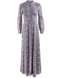 Michael Kors Floral Maxi Shirt Dress - Purple