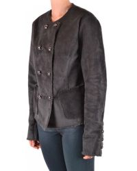 Armani Jeans - Shearling Coat In Grey - Lyst