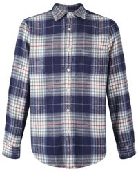 Portuguese Flannel - Bleeckers Check L/s Shirt Blue / Navy / Red - Lyst