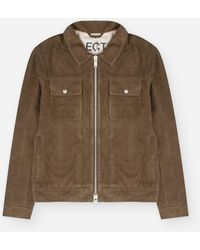 SELECTED Green Blouses Zip Jacket In Suede Leather - Brown