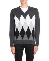 Ballantyne V Collar Cashmere Sweater With Argyle Intarsia - Gray