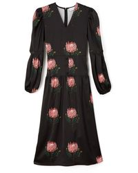 PHOEBE GRACE - Daisy Midaxi Dress With Puffed Sleeves And V-neck In Black Protea - Lyst
