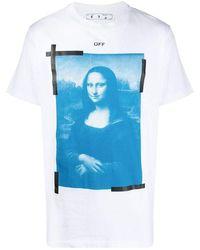 Off-White c/o Virgil Abloh - Off- Blue Mona Lisa Print T-shirt - Lyst