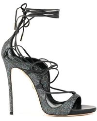 DSquared² Women's Hsw0509292003222124 Grey/black Leather Sandals