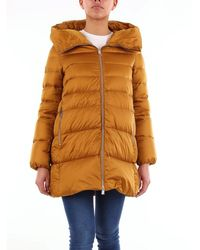 Add Long Mustard-colored Down Jacket - Yellow