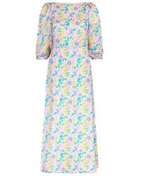 Olivia Rubin Lara Neon Floral Silk Dress - Blue