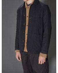 Universal Works Bakers Jacket In Navy Wool Marl - Blue