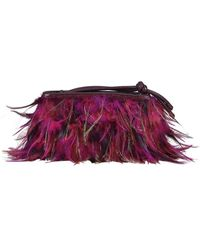 Dries Van Noten Feathers Fringes And Leather Clutch - Pink