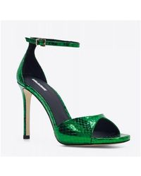 Lola Cruz Cephei Green Leather Heels Sandals