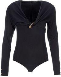 Versace Safety Pin Bodysuit - Black