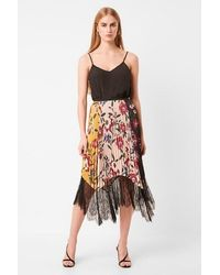 French Connection Abeona Drape Lace Print Pleated Skirt - 73nai - Multicolor