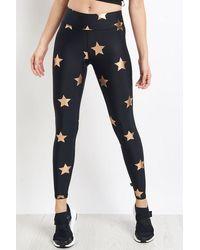 Terez Rose Gold Big Star Foil Printed Tall Band Leggings - Black