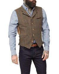 Gibson London Shetland Check Waistcoat - Brown