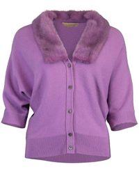 Michael Kors Fur Collar Three Quarter Sleeve Cardigan - Purple