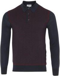 Brioni Long Sleeve 'b' Link Wool Polo (bordeaux & Navy) - Blue