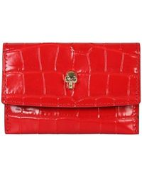 McQ Card Holder With Skull - Red