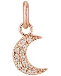 Kirstin Ash Bespoke Crystal Moon Charm - Rose Gold - Metallic