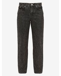 Ganni Washed Denim High Waisted Jeans - Multicolor