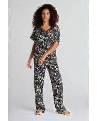 POM Amsterdam Roses Midnight Trousers - Blue
