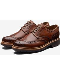 Grenson Archie Brogue Commando In Tan Hand Painted - Brown