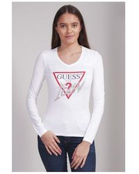Guess Rhinestone Icon Long Sleeve Tee Colour: White