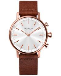 Kronaby Carat 38mm Hybrid Smartwatch - Silver, Leather - Brown