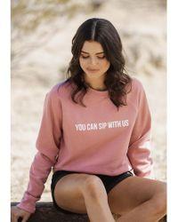 BRUNETTE the Label Sip With Us Sweatshirt - Pink