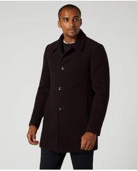 Remus Uomo Rowan Burgundy Overcoat - Black