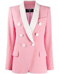 Balmain - Women's Vf17471v089oaj Pink Viscose Blazer - Lyst