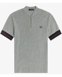Fred Perry Fred Perry Tipped Cuff Zip Neck Polo Shirt - Steel Marl - Grey