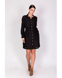 Haris Cotton Linen-blend Shirt-dress With Elasticated Waistband - Black/terra