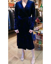 iBlues Abito Jersey/velvet Wrap In Floral Navy - Blue