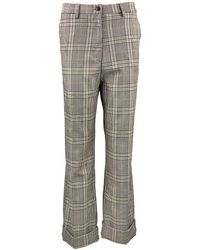 White Sand Chequered Wide Leg Trousers - Grey