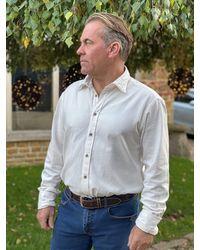 Mr. Snowdon Herringbone Flannel Shirt In Off - White