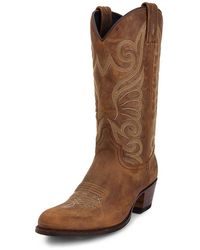 Sendra Cowboy Boots Embroidered Tan - Brown