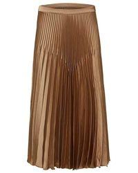 SELECTED Harmony Pleated Satin Midi Skirt - Brown