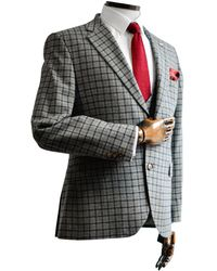 Gibson London Cheyne Grey With Navy & Check Suit Jacket - Brown