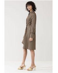 Luisa Cerano Silk Stripe Cross Tie Midi Dress - Black